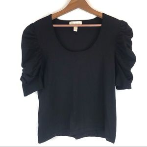Mainbocher Black Puffy Ruched Sleeve Blouse